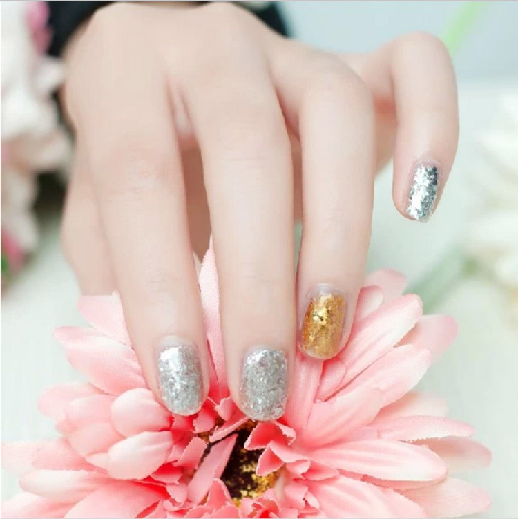 12 Pot Nail Art Gold Silver Foils Tip Decoration Paillette Flake