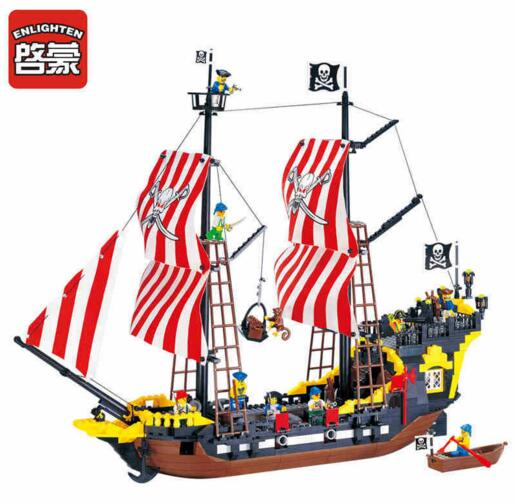 Interesting toy blocks for children, compatible with Legoes pearl, pirate ship model, children's education building block toy lepin 22001 pirate ship imperial warships model building block briks toys gift 1717pcs compatible legoed 10210