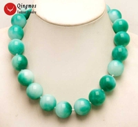 Qingmos Trendy 18mm Round Natural Light Green Jades Necklace for Women with Genuine Jades 17 Chokers Necklace Jewelry nec6280