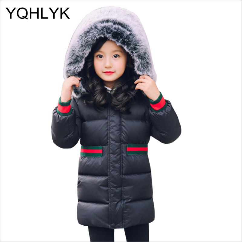 2018 New Fashion Girl Down Jacket kids Outerwear Casual Hooded Boy Jacket Thick Warm Parka Children Coat 3-15 Years old W4 olekid 2018 new 5 14 years children winter outerwear coat hooded thick warm long jacket for girl brand teenage girl parka