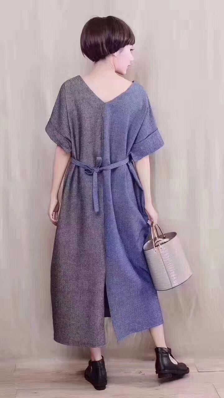 2019 nuova femmina di estate design originale più il formato Pieghettato texture lino corrispondenza dei colori Con Scollo A V con coulisse allentato vestito lungo - 3