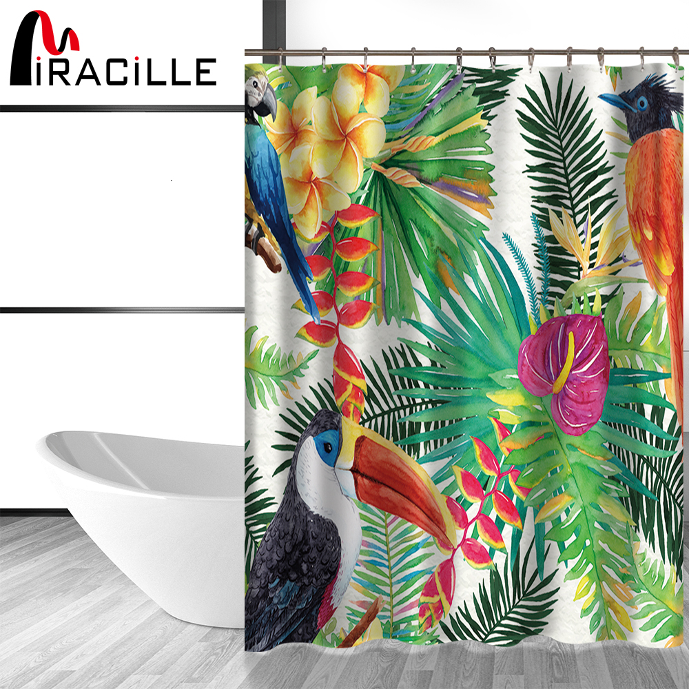 Miracille Tropical Flowers and Birds Bath Curtains Waterproof Polyester Fabric Shower Curtain