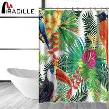 Miracille тропические цветы и птицы занавески для ванной Водонепроницаемый