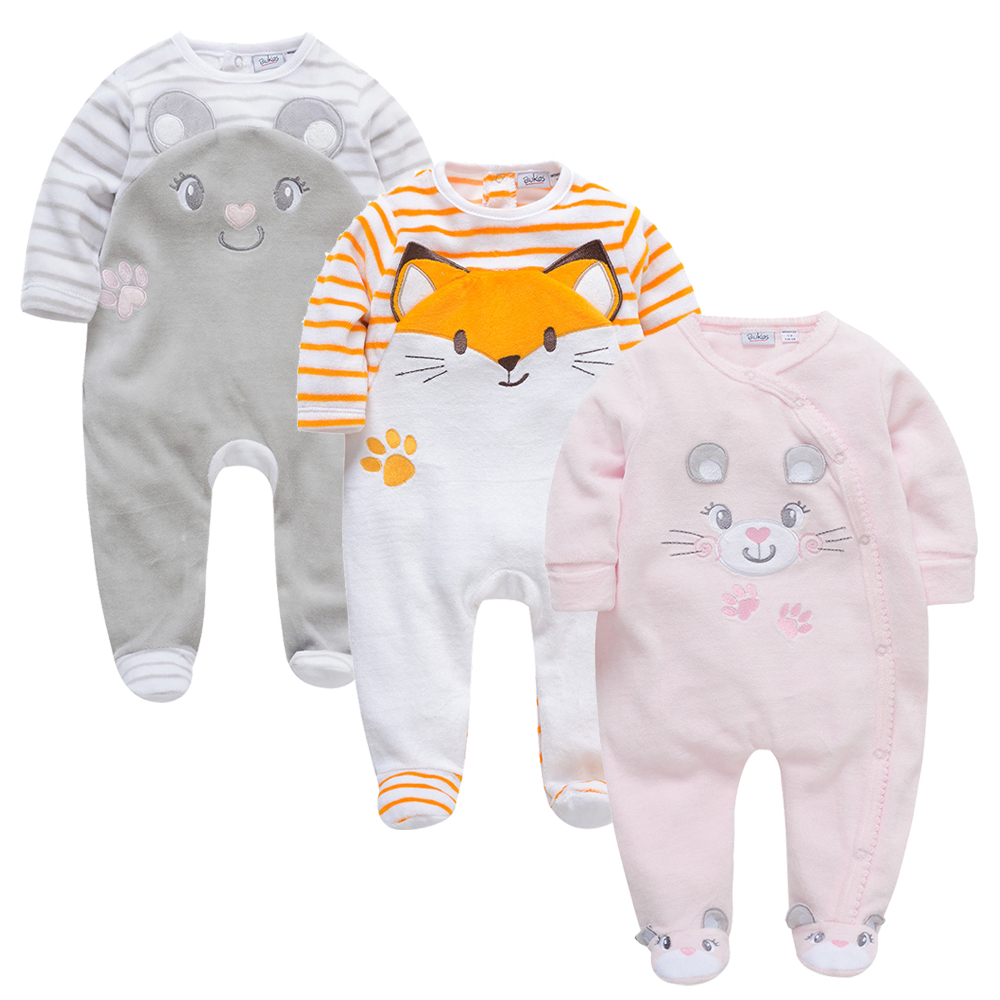 2019 3 Pcs/lot Baby Girls Rompers Winter Long Sleeve Patchwork O-Neck Babies Girl Clothes 0-24 Months Newborn Ropa De Bebe Wear
