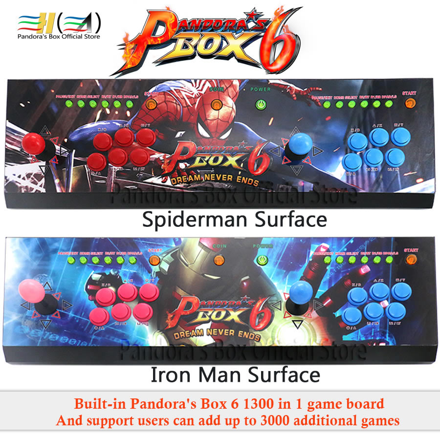 2019 New Pandora Box 6 1300 in 1 arcade game console 2 players joystick button support fba mame ps1 game 3d tekken mortal kombat