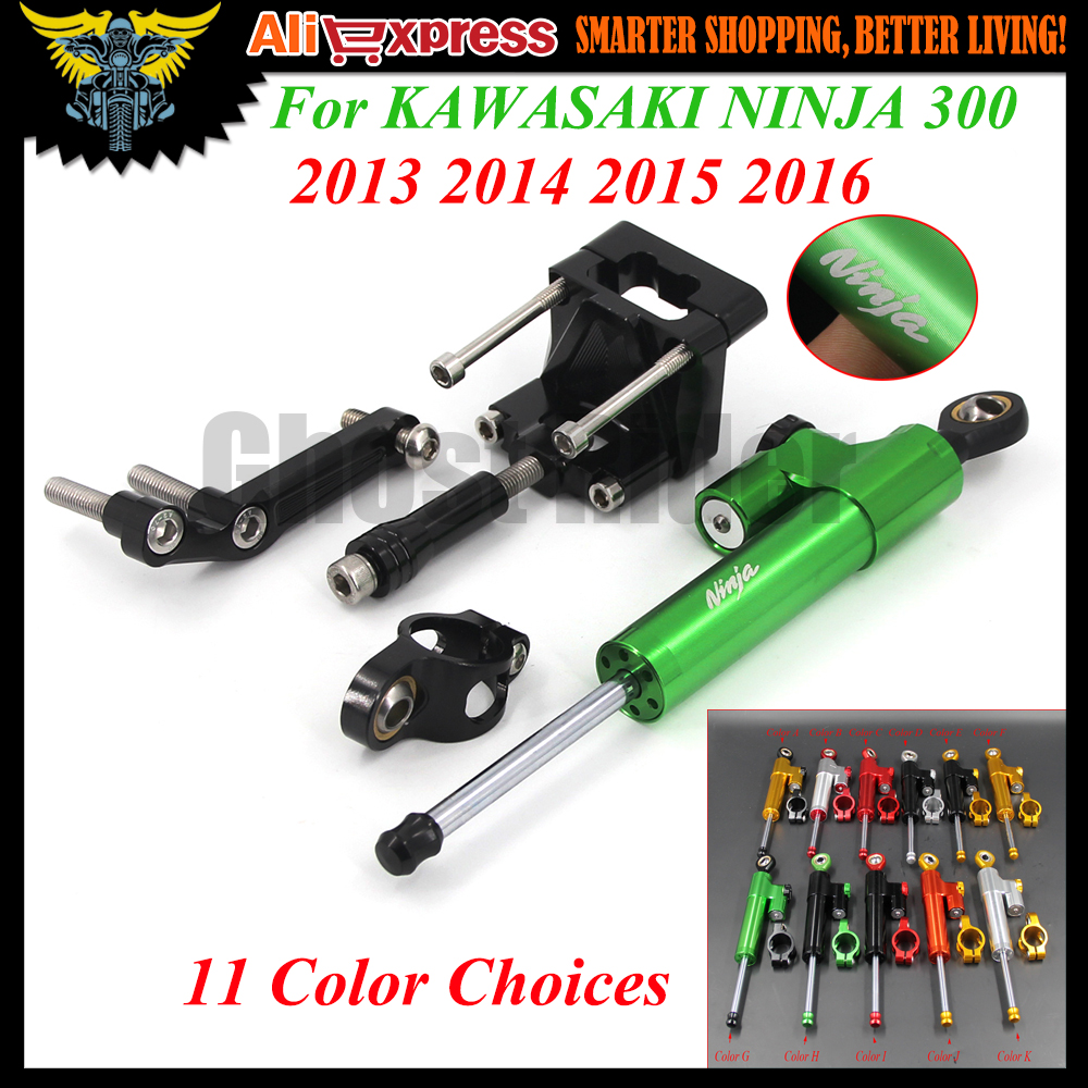 ФОТО 1 Set Motorcycle CNC adjustable Linear Reversed Steering Damper with bracket Support For KAWASAKI NINJA 300 2013 2014 2015 2016