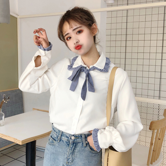 Fresh Sweet Girl Ruched Bow Tie Blouse Kawaii Spring Lolita Style Shirt  Women Top Chemise Femme Nice Ideas