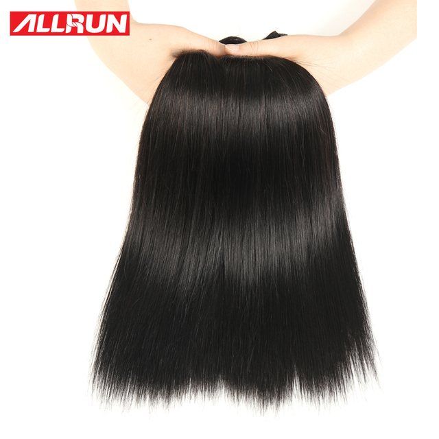 Allrun Hair Malaysian Straight Hair Weave 100% Human Hair Bundles No Tangle And Shed 8-28 Inch Non Remy Hair Extensions