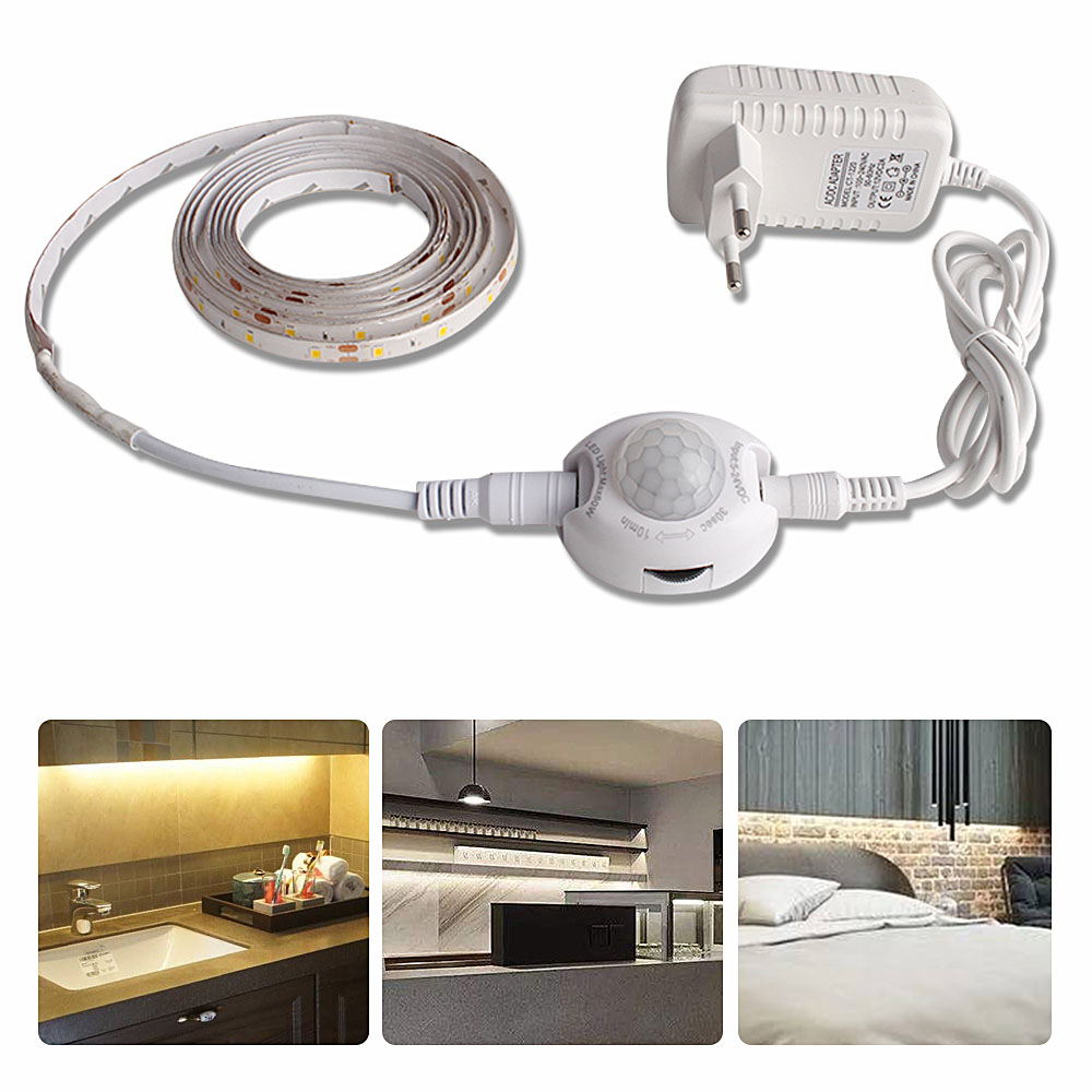 SMD2835 Waterproof LED Strip Motion Sensor Light Tira LED 220V to 12V Auto ONOFF Flexible Neon Tape 1M 5M Ledstrip Power Supply (4)