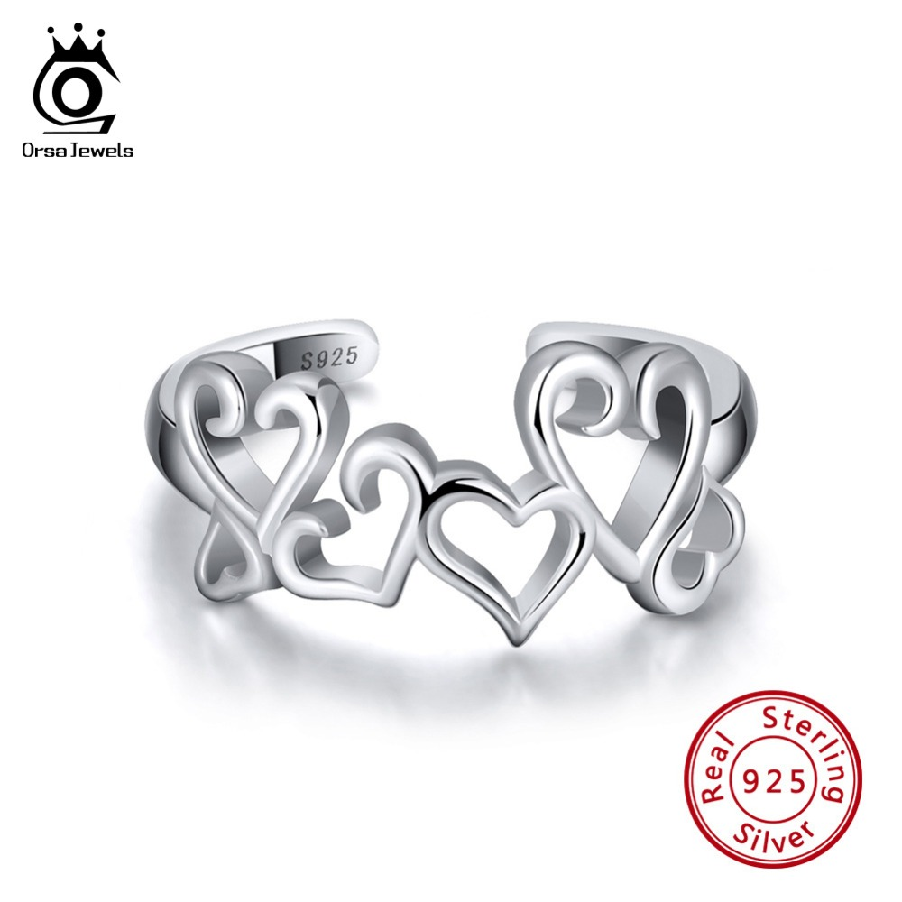 ORSA JEWELS Luxury 925 Real Sterling Silver 10MM Hollowed Sweet Heart Adjustable Ring Love Female Wedding Party Jewelry SR106