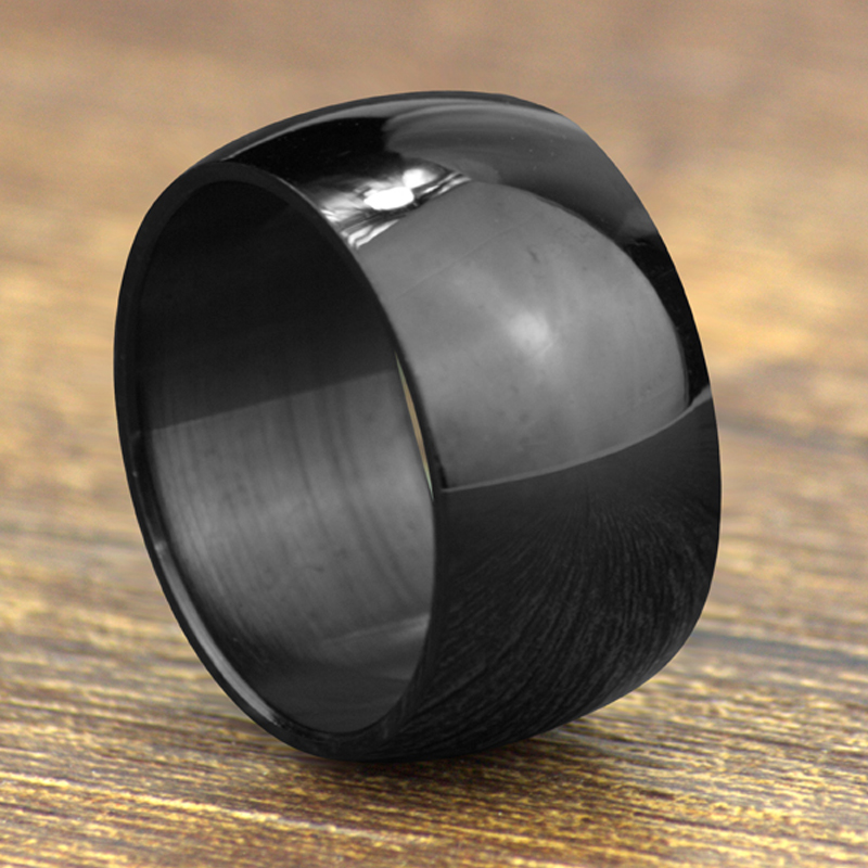 Gratis frakt 316L Rustfritt stål Wide Band Rings Wide 12mm Menns Smykker Black Arc Rings Fine Smykker Wedding Rings For Women