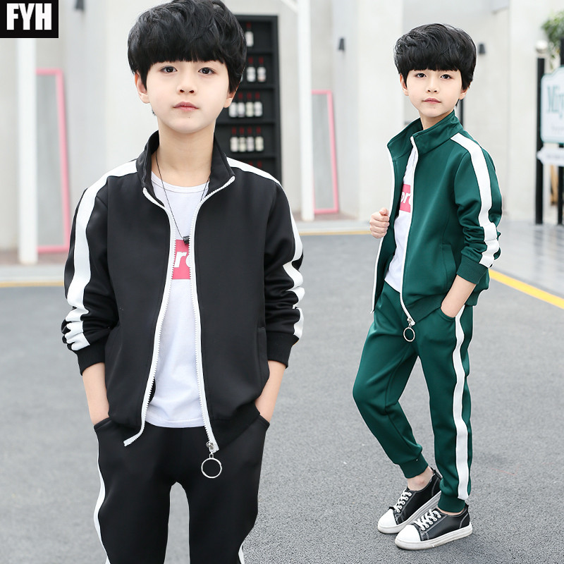 FYH Children Clothes Kids Tracksuit Autumn Spring Boys Clothing Set Teenager Boys Casual Clothes Suit Boys Jacket+Pants 2pcs boys suit new spring autumn teen boys single breasted blazers casual wedding coat jacket children s top clothing kids clothes