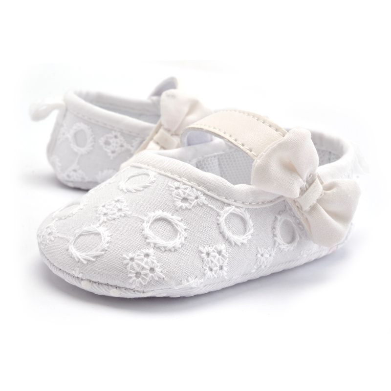 Infant White Bowknot Baby Girl Simple Lace Shoes Anti-slip Princess Bow Toddler First Walker Soft Baby Moccasins