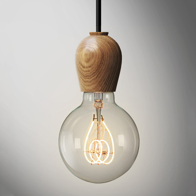 Nordic Oak Wood Pendant Lights Post Modern Hanging Lamparas Home Lamp Scandinavian Wooden