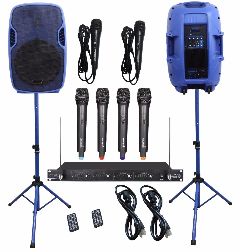 STARAUDIO Blue 2Pcs 153500W Powered Active PA DJ Stage BT USB SD Speakers W/4CH VHF Wireless Mics Stands Wired Mics SSBM-15RGB