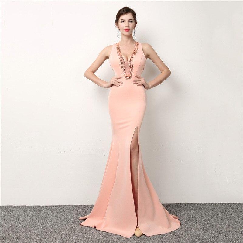 Pink Diamonds Mesh Deep V Neck Sleeveless Side Split Long Evening Party Dresses Elegant Women Formal Dress Sexy Night Club Wear