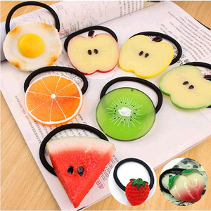 New Summer Style Many Patterns Fruits Slice Hair Accessories Clip Kids Women Elastic Hair Bands Ponytail Holder Gum Headwear