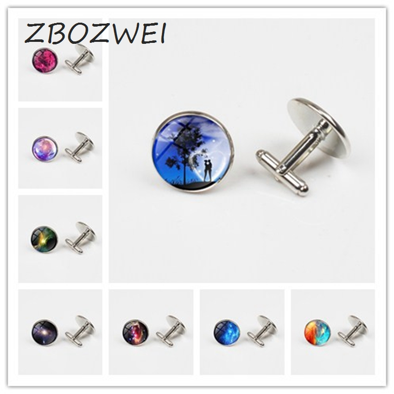 ZBOZWEI cufflinks femme bijoux Glass gem Galaxy Space ,Stars And Universe for women Plated silver