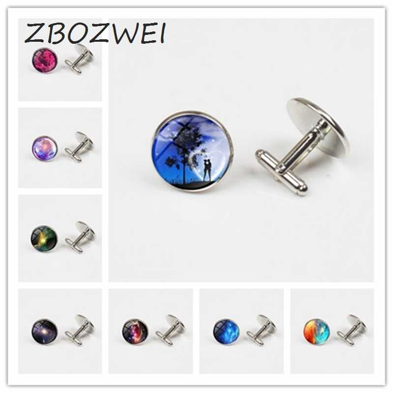 ZBOZWEI cufflinks femme bijoux Glass gem Galaxy cufflinks Space cufflinks ,Stars And Universe for women Plated silver cufflinks
