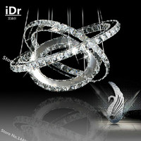 3 Rings Crystal LED Chandelier Light Fixture Crystal Light Lustre Hanging Suspension Light For Dining Room