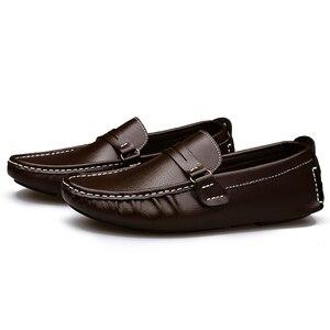 Image 4 - Große Größe Männer Müßiggänger Schuhe Leder 2020 Mode Männer casual Schuhe Männer Wohnungen Slip Auf Plus Größe 38 48 männer Mokassins Wohnungen