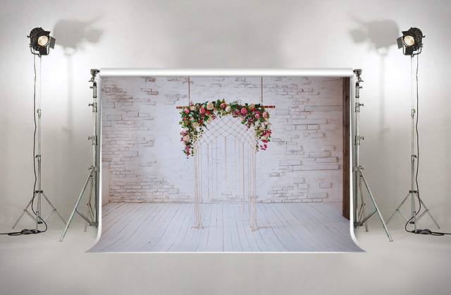 bridal shower backdrop wedding photography pictures cloth white brick wall flower studio background for photographer xt