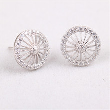 Free Shipping Earring Rhinestone Beautiful Jewelry Fashion Women Stud Earrings 925 Sterling Silver Umbrella