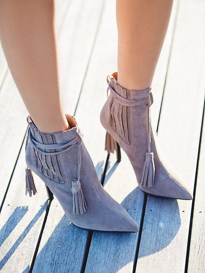 0beb315e2a6b5 النساء مذهلة المشمش جلد الغزال وأشار اصبع القدم حذاء من الجلد الدانتيل يصل  شرابة اللباس أحذية الربط هامش القصيرة booties