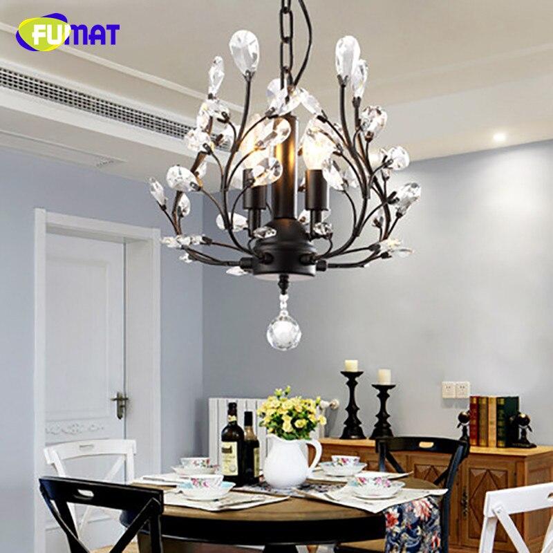 FUMAT Black/Gold Crystal Chandeliers Vintage Pastoral Crystal Lights For Living Room Dining Room Lamp LED K9 Crystal Chandeliers