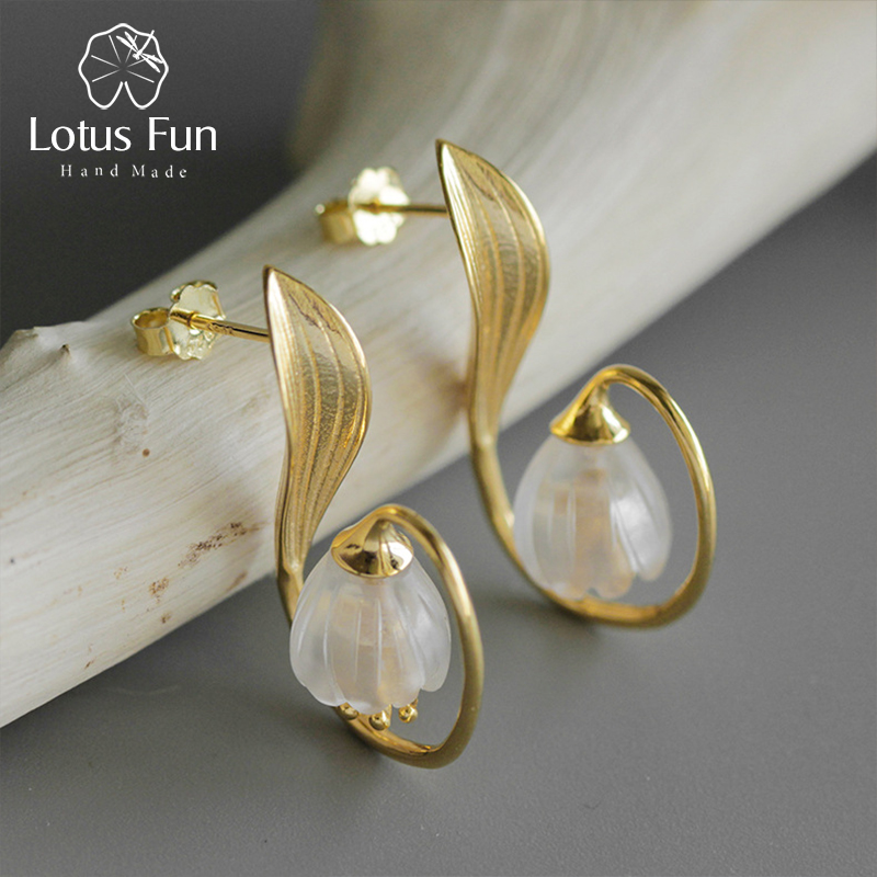 Lotus Fun Real 925 Sterling Silver Handmade Fine Jewelry Natural Crystal Lily of the Valley Flower Dangle Earrings for Women lotus fun real 925 sterling silver handmade fine jewelry natural crystal lily of the valley flower brooches for women brincos