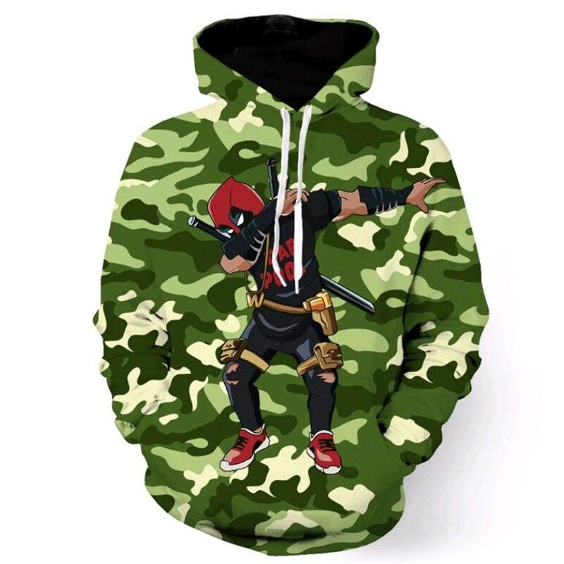 new fashion Men Women Camo Hooded Sweatshirts Comic Deadpool/Anime Naruto Print 3D Hoodies Pullovers Male Harajuku Hoodie