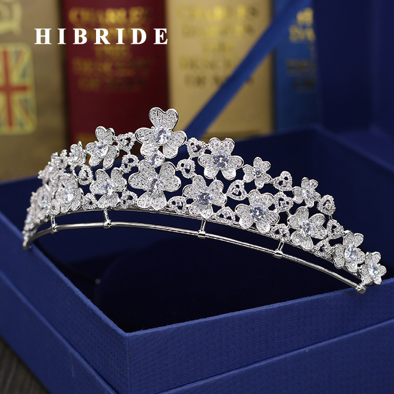HIBRIDE New Flower Design Headband Noble Cubic Zircon Crown And Tiaras Bridal Hair Accessories For Wedding Gifts C-54
