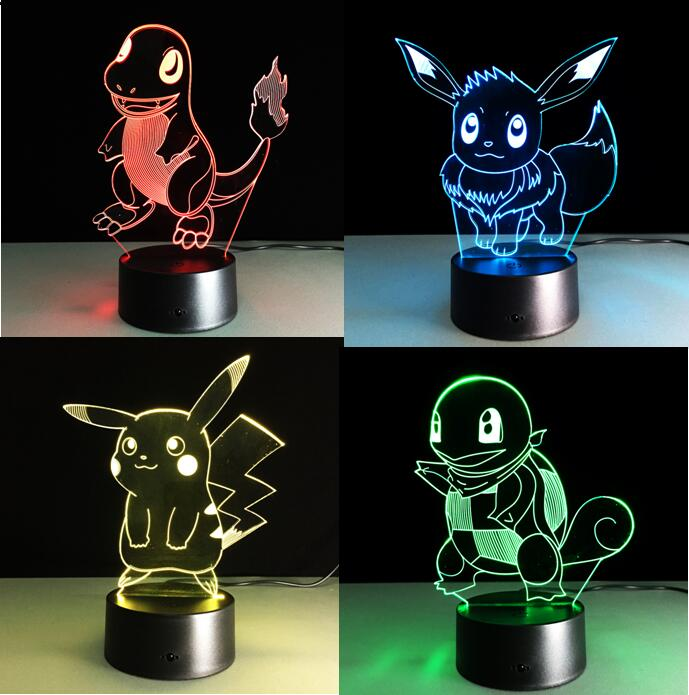 Pokemon Go Touch Night Lights Colorful Charmander Games Pikachu Action Figures Toys Squirtle Bulbasaur Pokeball Children Gifts