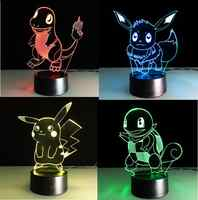 Pokemon Go Touch veilleuses colorées Charmander jeux Pikachu figurines jouets écureuils Bulbasaur Pokeball enfants cadeaux