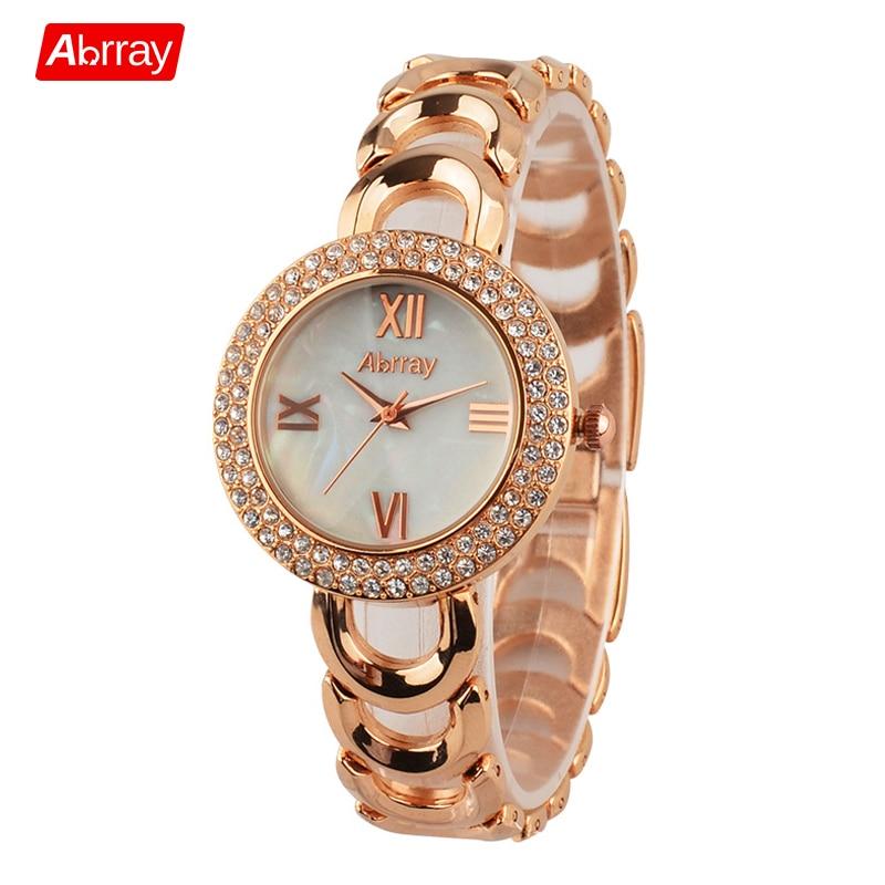 Abrray Fashion Rose Guldfärg Rhinestones Shell Face Roman Numerals Kvinna Watch Quartz Armbandsur med Hollow Chain
