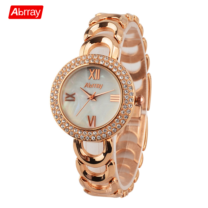 Abrray Fashion Rose Gold Color Rhinestones Shell Face Roman Numerals Female Watch Quartz Wristwatches with Hollow Chain