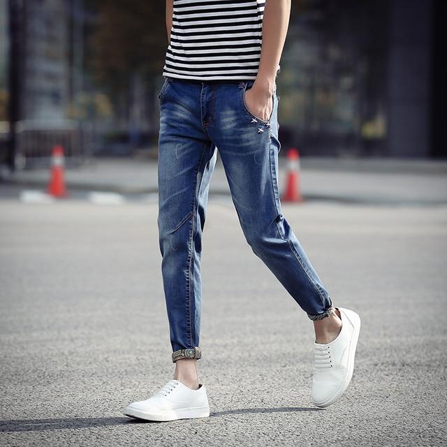 ba63a74d09d0 New Summer 2016 Mens Jeans Pant Thin Skinny Denim Ankle-Length Pants For  Boys Rivet