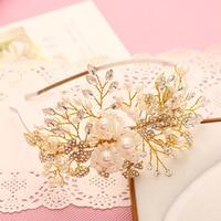 Kore saf el yapımı İnci kristaller tiara saç takı gelin saç aksesuarları hairbands yüksek dereceli tiara toptan