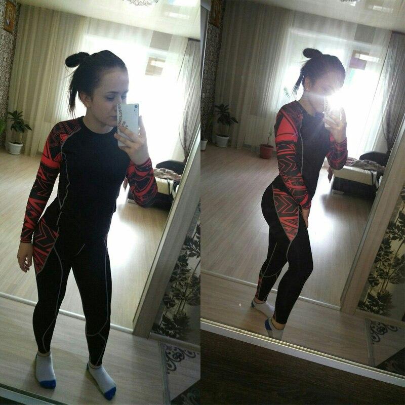 Survêtements de femmes Collants sport courir costume sous-vêtements thermiques base couche jogging Leggings Compression crossfit fitness t-shirt