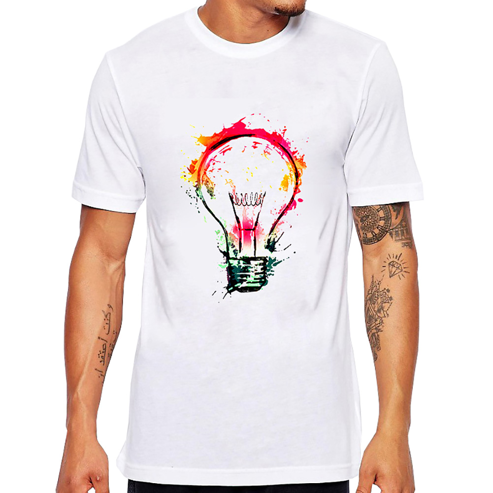 2017 Novo Do Punk Rock Dos Homens T Shirt Top Tee Respingo Lâmpada Pintura  Idéias