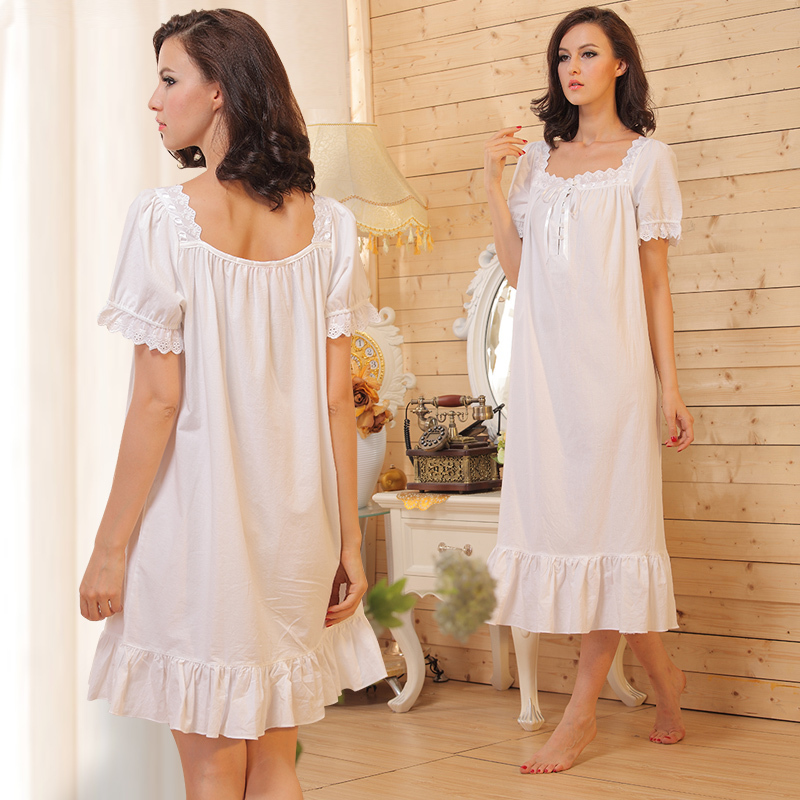 2016 Limited Summer Dress Lace Victoria Princess Nightgown Female Short Sleeve 100 Cotton