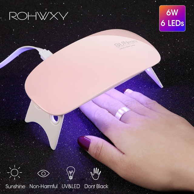 ROHWXY 6W Nail Dryer LED UV Lamp Micro USB Gel Varnish Curing Machine Nail Art Tools 6 LEDS Nail Lamps For Home