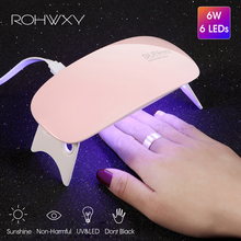 ROHWXY 6W lámpara de LED UV de secado de uñas Micro USB Gel barniz máquina de curado herramientas de arte de uñas 6 LEDS lámparas de uñas para el hogar