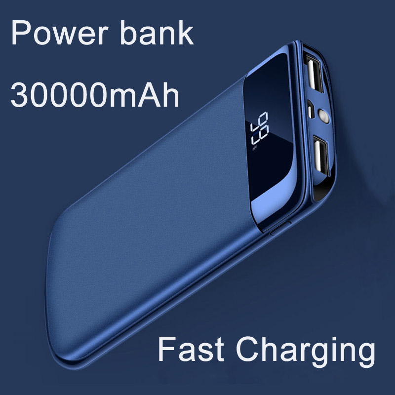 High-capacity 30000mah mobile power external battery powerbank 2 USB LED lights portable mobile phone charger universal