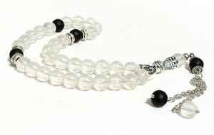 Image 2 - 8mm White frosted Beads with charm Round Shape 33 Prayer Beads Islamic Muslim Tasbih Allah Mohammed Rosary For Men&Women