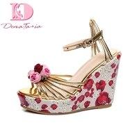 DoraTasia Sweet Flowers Ankle Strap Summer Sandals Brand New Wedges High Heels Platform Women Shoes Woman