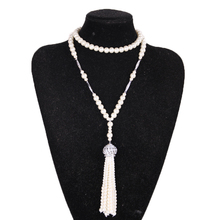 Elegant The Great Gatsby Necklace Simulated Pearl Necklace Long Section Pearl Tassel Sweater Chain Bridal Jewelry for Wedding
