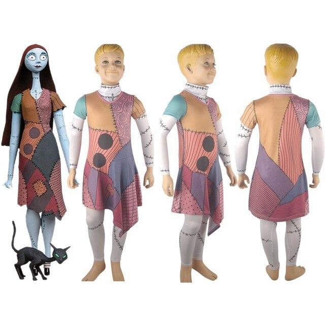 dzieci dziewczyny sally miasteczko halloween kostium lato sukienka cosplay costume