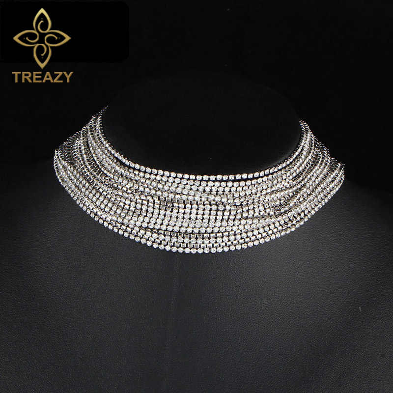 TREAZY Sexy Multiple Layers Full Rhinestone Crystal Choker Necklace for Women Vintage Statement Chunky Necklaces Jewelry Gift