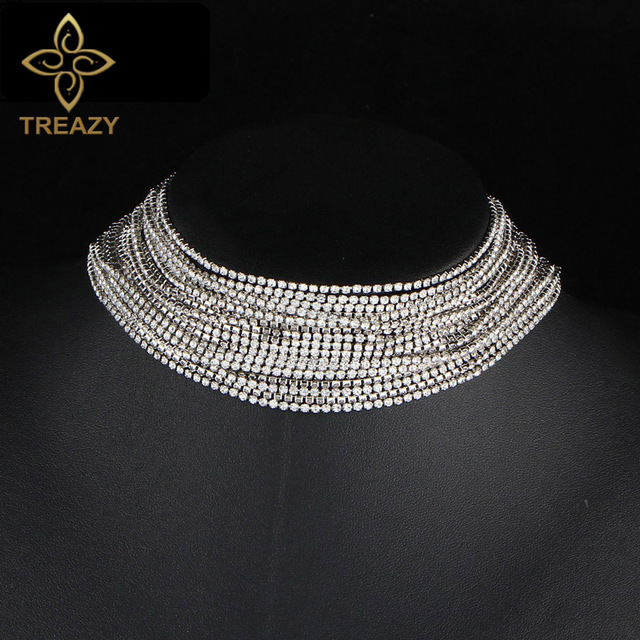 a79f32a71db1c TREAZY Sexy Multiple Layers Full Rhinestone Crystal Choker Necklace for  Women Vintage Statement Chunky Necklaces Jewelry Gift-in Choker Necklaces  from ...